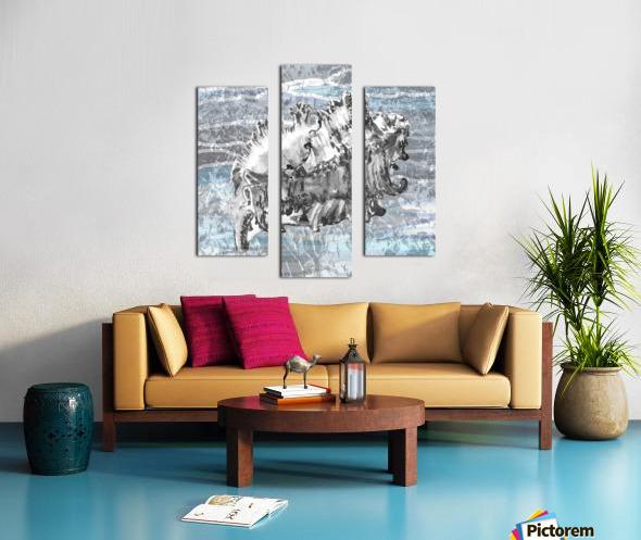Silver Gray Seashell On Ocean Shore Waves And Rocks III Canvas print
