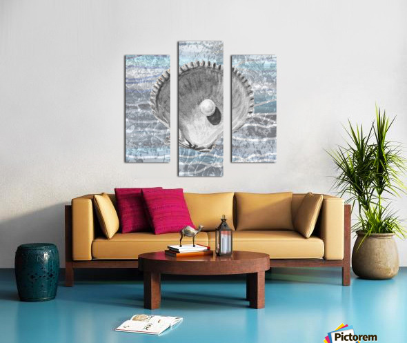 Silver Gray Seashell On Ocean Shore Waves And Rocks IV Canvas print
