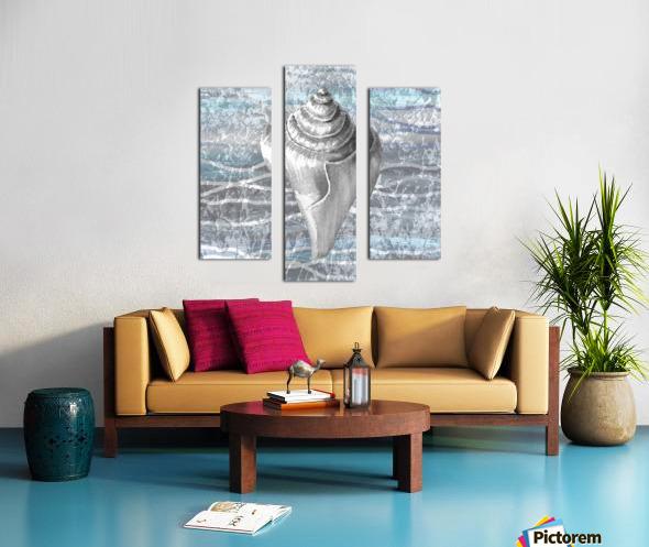Silver Gray Seashell On Ocean Shore Waves And Rocks VII Canvas print