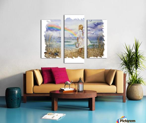 Girl Ocean Rainbow Boat And Birds Beach House Style Art Canvas print