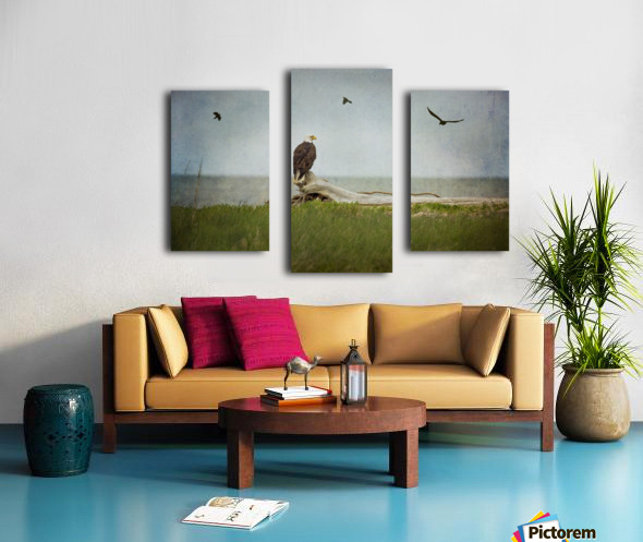 Bald Eagle on Tree Trunk Canvas print