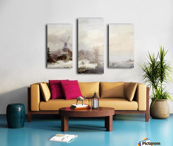 Winter landschap met gehucht, windmolen en figuren Canvas print