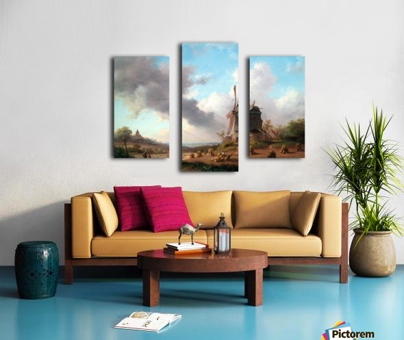 Summer Landscape with Harvesting Farmers Canvas print