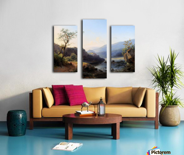 Landscape with lake and figures Canvas print