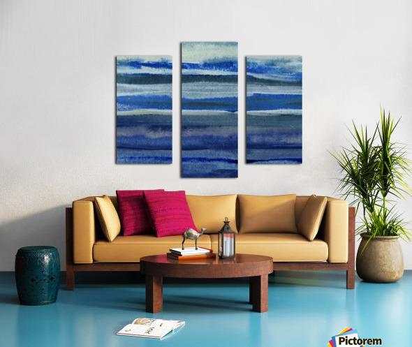 Ocean And Sea Beach Coastal Art Organic Watercolor Abstract Lines III Canvas print