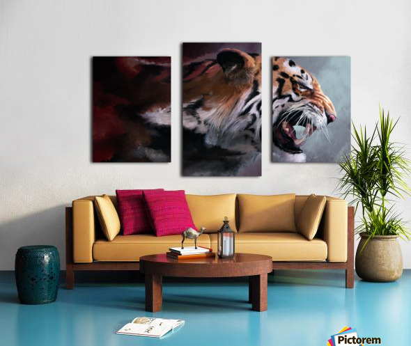 Lunging Tiger Canvas print