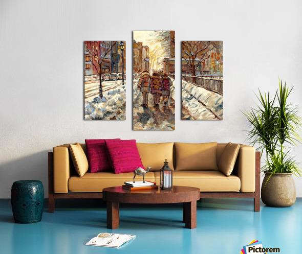 MONTREAL WINTER SCENE MCGILL WINTER WALK NEAR RODDICK GATES Canvas print