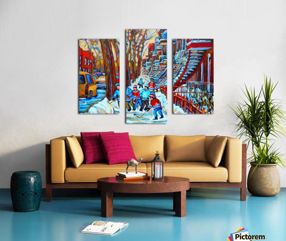 HOCKEY ON DEBULLION MONTREAL WINTER SCENE Canvas print