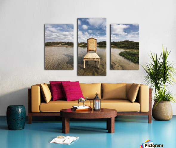 Chair in a pool of water - color version Canvas print