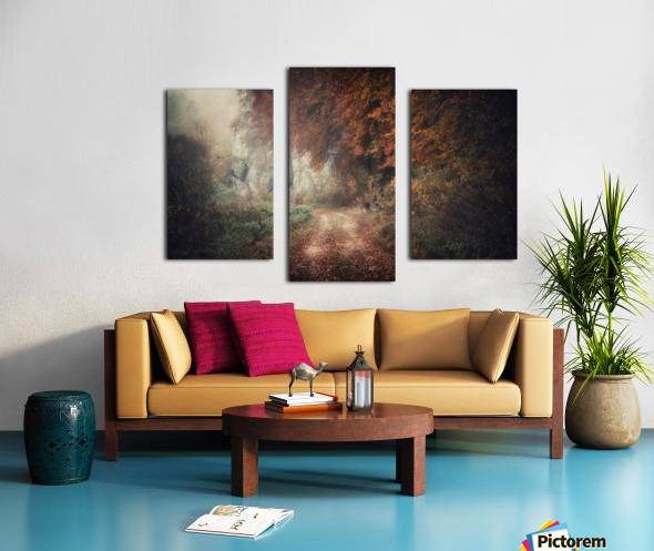 Foggy autumn forest Canvas print