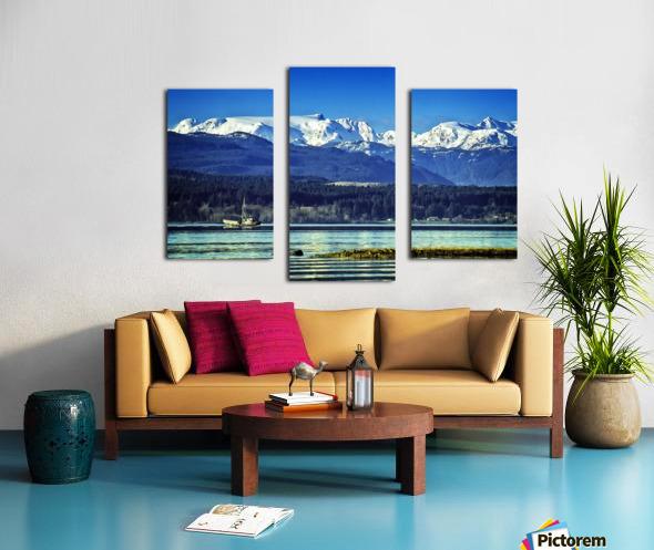 Comox Glacier and Herring Boat Canvas print