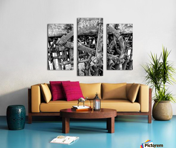 Antique Ploughing Machinery Black and White Canvas print
