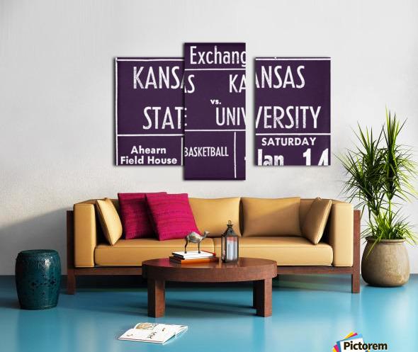 1956 Kansas State vs. Kansas Basketball Ticket Remix Art Canvas print