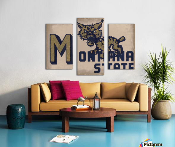 Vintage Montana State Bobcat Art Canvas print