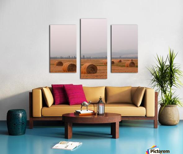 Haybales in a Haze Canvas print