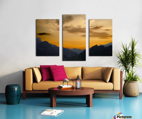 Sunset in the Saanen Valley in Switzerland Canvas print