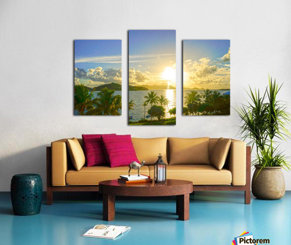 Sunset over Saint Thomas in the Caribbean Islands Canvas print