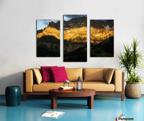 Mountain Bathed in the Golden Rays of the Sun at Sunset in Switzerland 2 of 3 Canvas print