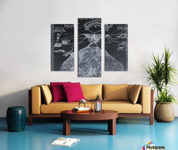 Warli Art Depicting multitask Canvas print