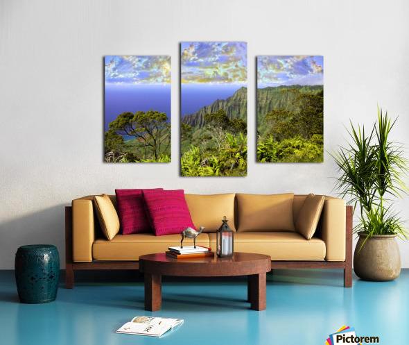 Sunset at Puu O Kila Lookout Kohala Mountains on the Island of Kauai in Hawaii Canvas print