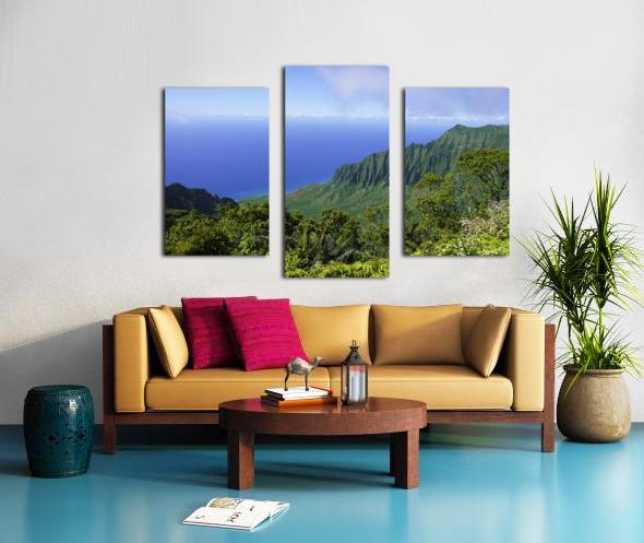 Blue Skies Puu O Kila Lookout Kohala Mountains on the Island of Kauai in Hawaii Canvas print