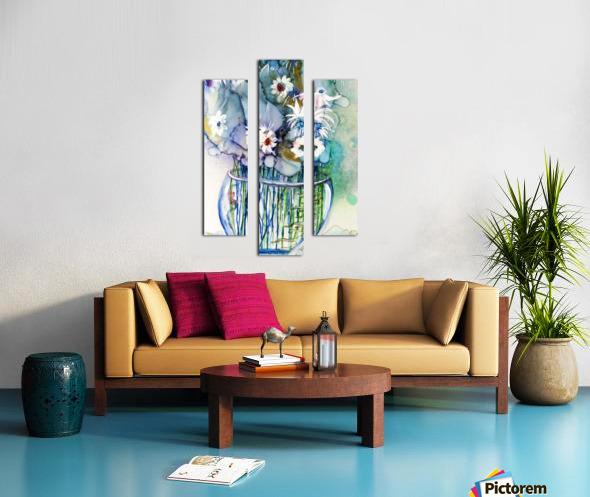 Blue Floral Impression sur toile