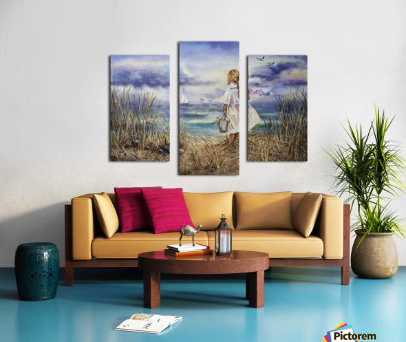 Girl At The Ocean Beach Art Painting Canvas print