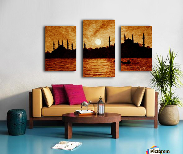Sunset Over Istanbul Original Coffee Painting Canvas print