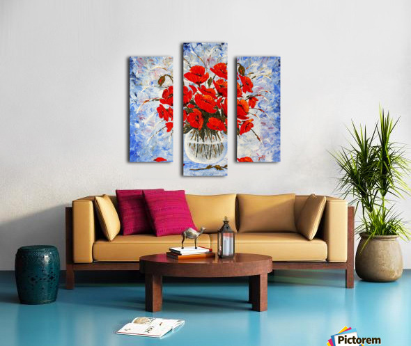 Morning Red Poppies original palette knife painting Canvas print