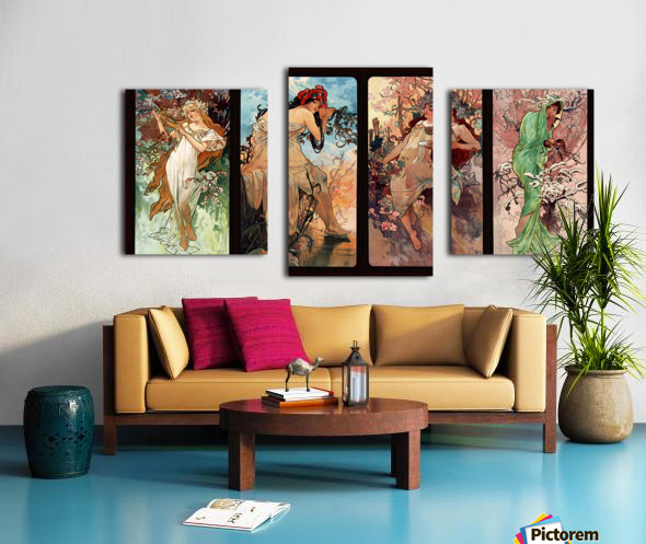 Seasons by Alphonse Mucha Art Nouveau Xzendor7 Old Masters Art Reproductions Canvas print