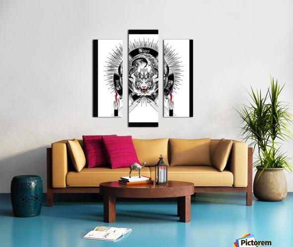 White Tiger King Tiger Art Emblem by Xzendor7 Canvas print