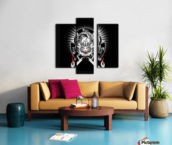 White Tiger King Tiger Art Emblem BlkBgnd by Xzendor7 Canvas print