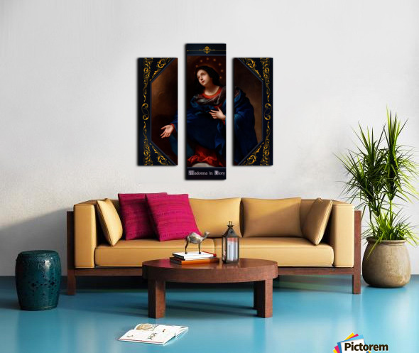 Madonna in Glory by Carlo Dolci Blue Gold Border Xzendor7 Old Master Art Reproductions Canvas print