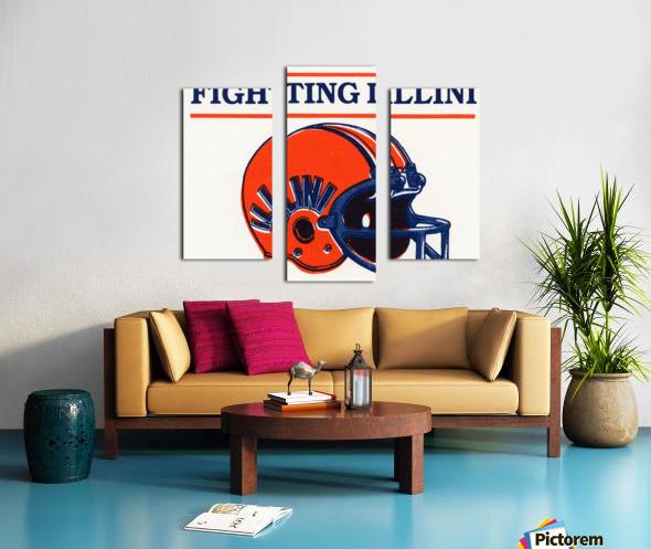 Retro Illinois Football Helmet Art Canvas print