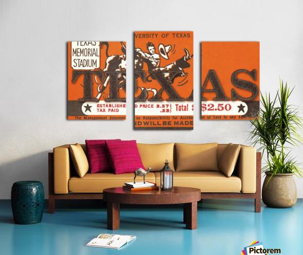 Vintage Thirties Texas Longhorn Football Ticket Remix Art Canvas print