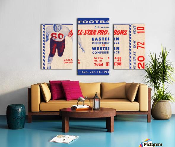 1955 Pro Bowl Football Ticket Stub Art Canvas print