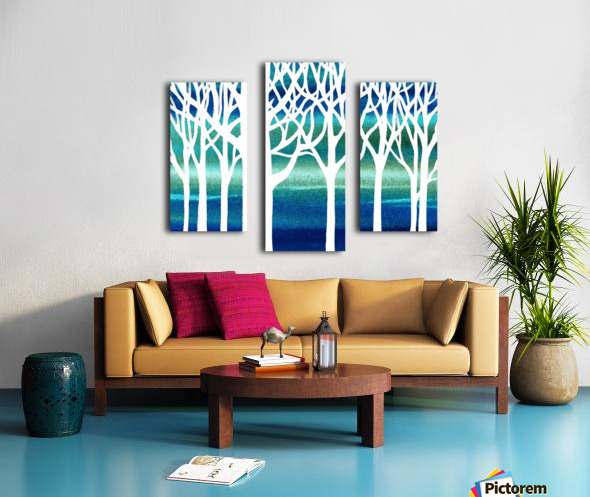 White And Teal Forest Canvas print