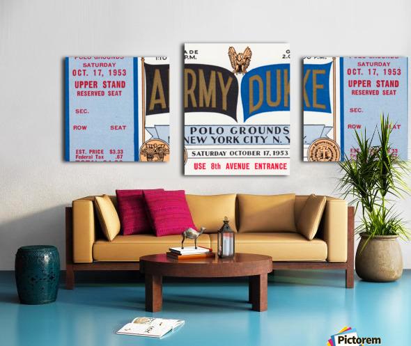 1953 Duke vs. Army Football Ticket Stub Art Canvas print