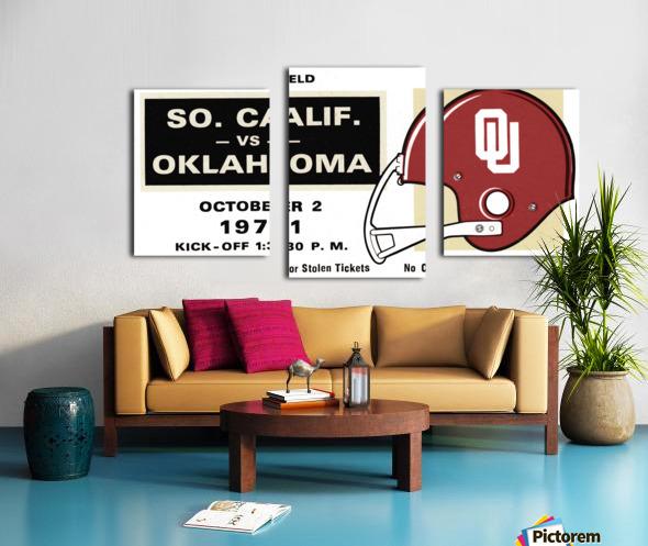 1971 USC vs. Oklahoma Football Ticket Stub Remix Art  Canvas print