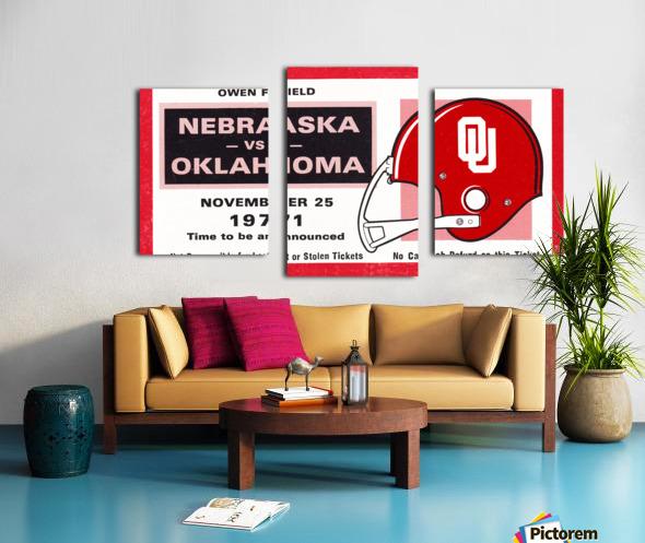 1971 Oklahoma Nebraska Game of the Century Ticket Stub Remix Canvas Art Canvas print
