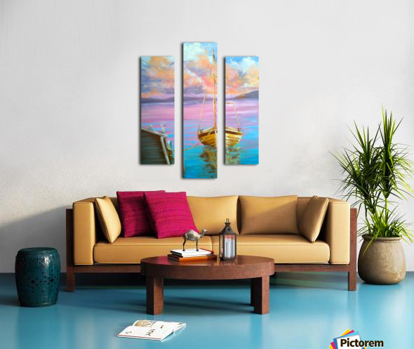 tranquility floating boat patiently waiting for new adventure. Canvas print