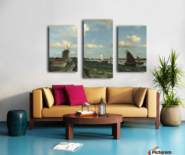 Dutch landscape with mill and figures Canvas print