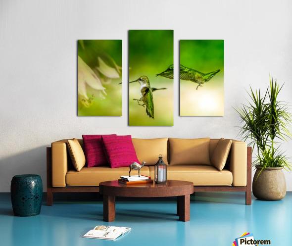 Emerald Hummingbirds Canvas print
