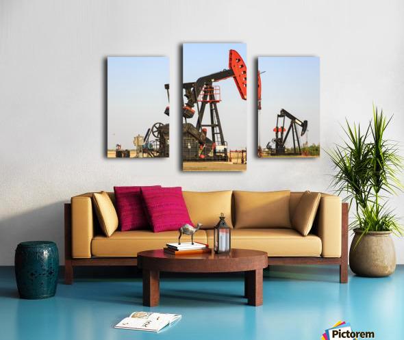 Oil well pump jacks at Bakken Oil Field near Estevan; Saskatchewan, Canada Canvas print