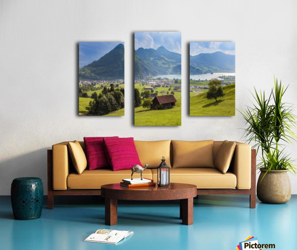 Seewen, a village on Lake Lauerz; Schwyz Canton, Switzerland Canvas print