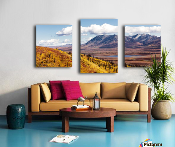 Scenic view of peak fall colors along Matanuska Valley, Southcentral Alaska Canvas print