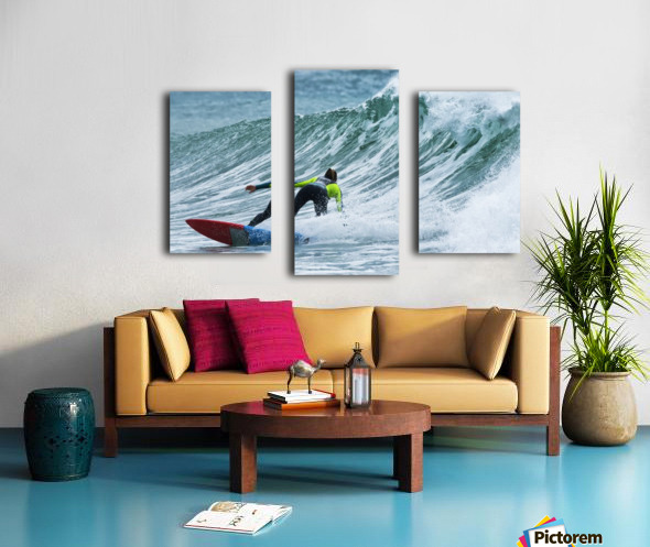 Surfer catching a wave; Tarifa, Cadiz, Andalusia, Spain Canvas print