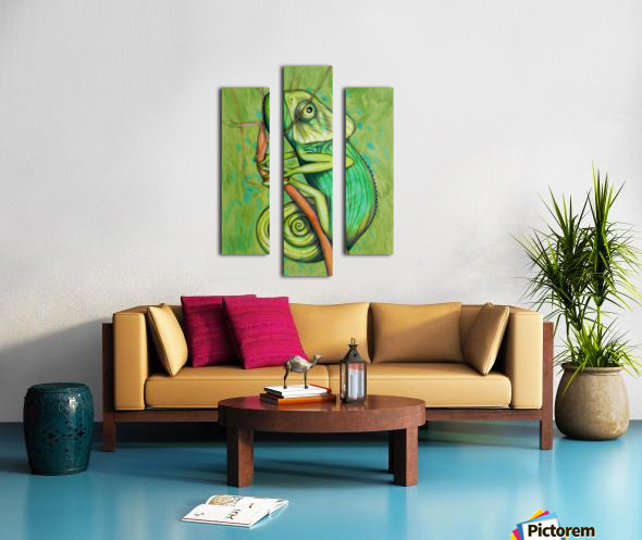 green chameleon Canvas print