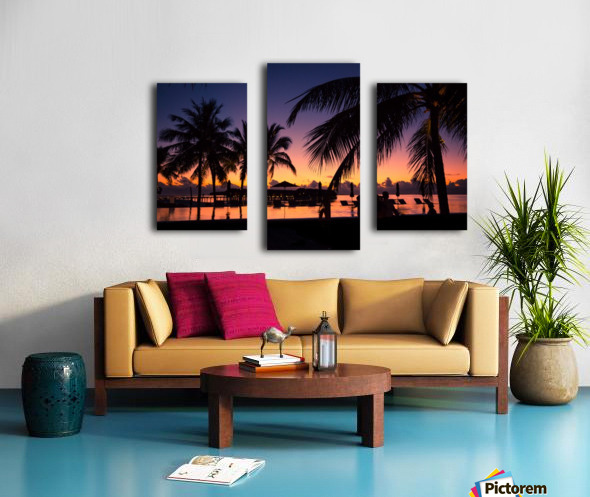 Silhouette coconut palm trees on beach at sunset. Vintage tone Canvas print