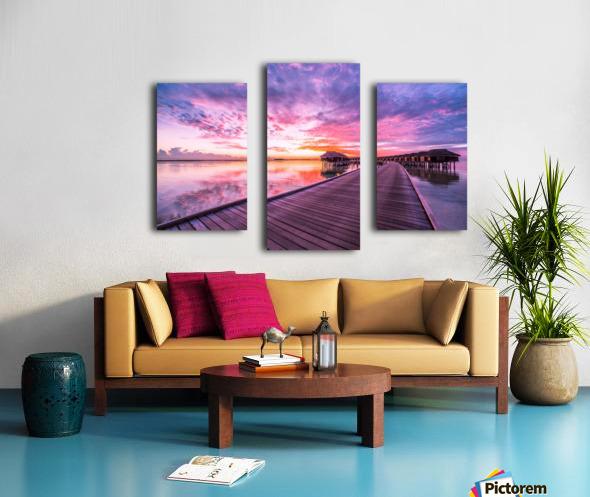 Amazing tropical sunset beach, luxury overwater bungalow Canvas print